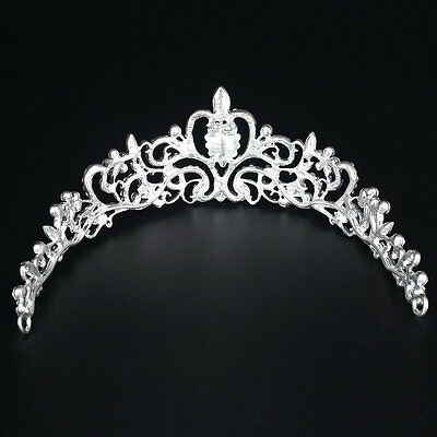 Princess Austrian Crystal Tiara Wedding Crown Veil Hair Accessory Silver ZM