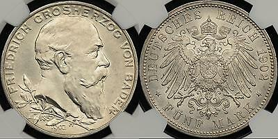 Germany German States Baden 1902 5 Mark KM #273 NGC MS63 Choice Uncirculated