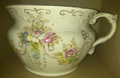 Sale- Beautiful Antique Chamber Pot Crown Devon Fieldings Stoke On Trent England