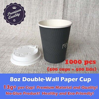 1000pcs/500sets 8oz Disposable Coffee Grey Paper Cups Double Wall W/Lid Takeaway