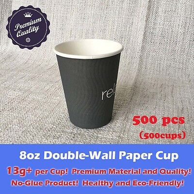 500pcs/ 8oz Disposable Coffee Cups Double Wall Grey Paper cups Eco friendly 13g