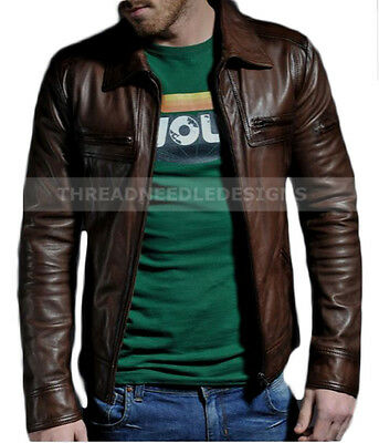 Men's Motorcycle Genuine Lambskin Brown Slim Fit Biker Leather Jacket