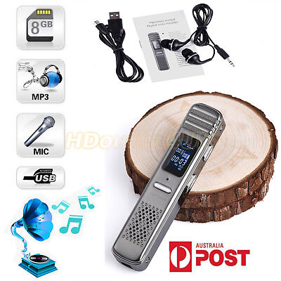 Digital 8GB Rechargeable Voice Recorder MP3 Player Sound Record Dictaphone Steel
