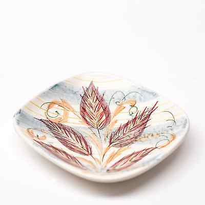 Denby Hand Painted Stoneware Dish - Leaf Design, Grey and Reds