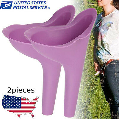 2Pcs Outdoor Portable Female Urinal Camping Urination Toilet Urine Device Funnel