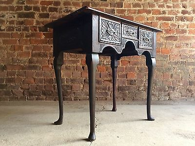 Magnificent Antique Low Boy Heavily Carved Solid Oak 18th Century Hall Table