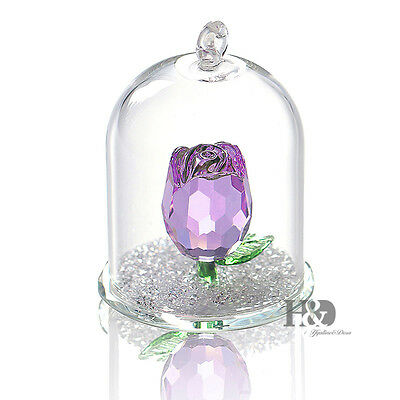 Crystal Glass Purple Rose Ornament Christmas Tree Decor Paperweight Gift Boxed