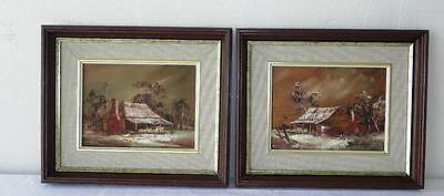Pair of Vintage Signed Australian Artist Judy Cadden Oil Painting Country Scenes