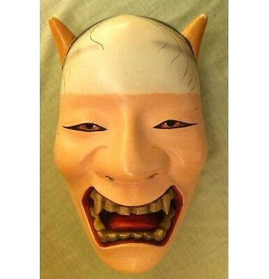 "JAPANESE ANTIQUE MASK ""NAMANARI"" NOH HANNYA DEMON DEVIL LACQUER r320"