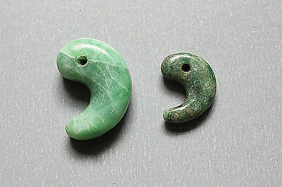 Beautiful & Most Rare Pair of Antique Jade Comma-shaped or curved beads SEE