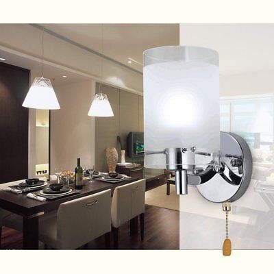 Modern Wall Sconce Silver Chrome White Glass Indoor Wall Lamp Lights Fittings