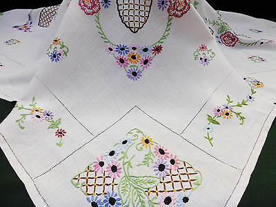 Vintage Linen Tablecloth-Many Hand Embroidered Pretty Flowers