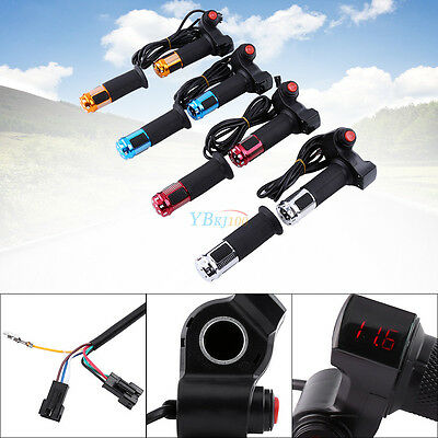 EBike Scooter Throttle Grip 24 36 48 60v Handlebar LED Digital Meter 3 Speed