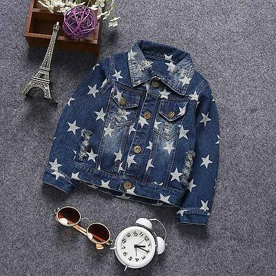 1PC Toddler Children Boys Clothing Stars Print Jeans Coat Casual Cotton Jackets