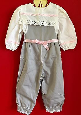 Vintage Baby Girl 18 mo 2 pce Smock Front Grey, Pink & White,  Bib Pants Outfit
