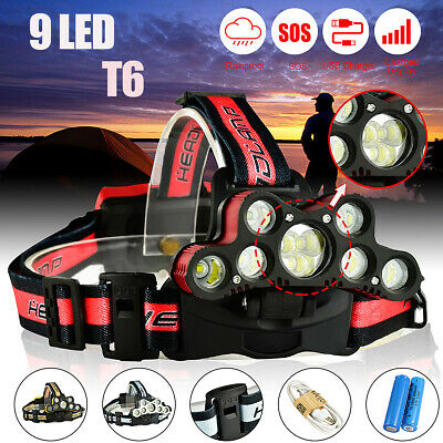 100000LM 9x T6 LED Rechargeable Headlight Headlamp 18650 USB Head Torch Fish UK