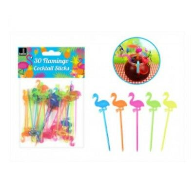 Bello Pack Of 30 Coloured Cocktail Plastic Flamingo Decorative Drink Sticks Pick