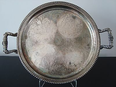 """Silver Plated on Copper Ornately Decorated 12.5"""" Round Serving Tray w/ Handles"""