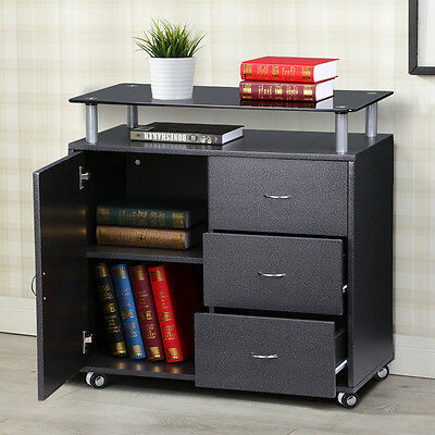 Black Mobile File Cabinet 3 Drawers 1 Door with Glass Top Home Office