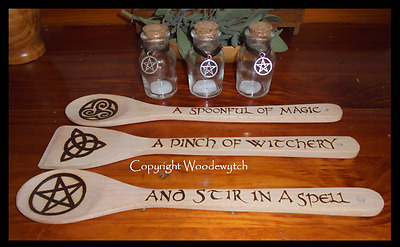 Pentacle 3 spoon 3 bottle set kitchen witch set handcrafted usable food safe