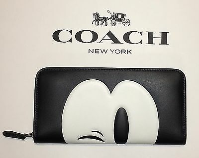 Limited Edition Disney Coach Mickey Accordion Zip Leather Wallet 54000
