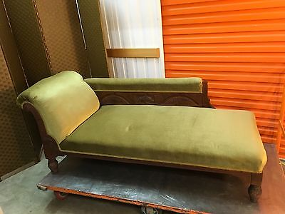 Beautiful Antique Edwardian Carved Mahogany Chaise Parlour Lounge c1900's