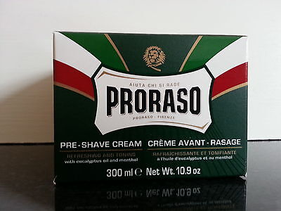 Proraso pre shave cream green XL 300ml pot with Eucalyptus and Menthol UK stock