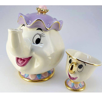 NEW Beauty and The Beast Mrs. Potts Chip Tea Pot & Cup set Teapot Mug ( Pot & Cu