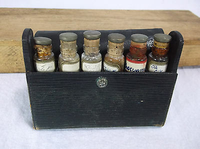 Antique Medical Physicians Leather Cased Glass Medicine Vials Silver cork tops