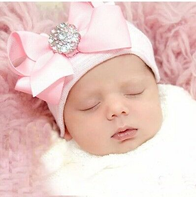 Beautiful Baby Girl Cotton Striped Soft Hat with Pink Bow And Rhinestone uk Sell
