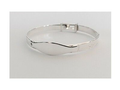 Solid Sterling Silver cute Baby Boy Girl ID Christening Bangle Baptism Bracelet