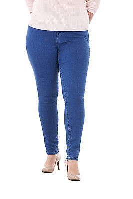 Ladies Plus Size Stretch Denim Look Womens Leggings Cotton Jeggings