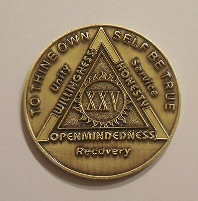 aa bronze alcoholics anonymous 25 year sobriety chip coin token medallion