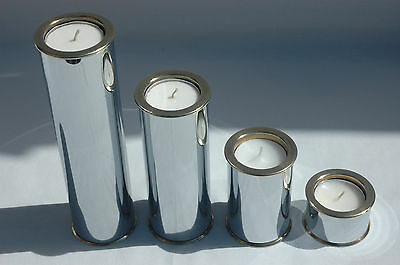 Vintage 1960s Staffan Englesson Modernist Set of 4 Brass & Chrome Candle Holders