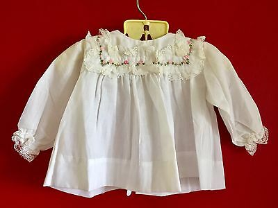 Vintage Baby Girl 6-9 mo Lace Trim Smocked White Dress w Pink Rosette Embroidery