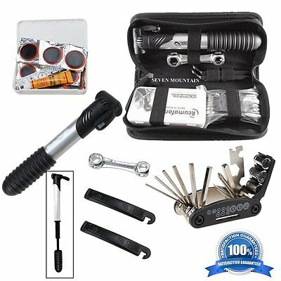 Portable Outdoor Bicycle Cycling Bike Tire Repair Multi Tool Set Kits W/ Pump SY