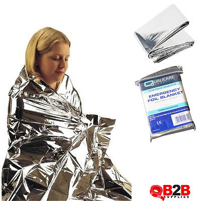 2 x Premium Emergency FOIL BLANKET Accident Thermal First Aid Large 1.6m x 2.10m