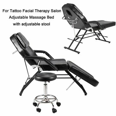 Reclining Beauty Salon Chair Massage Table Tattoo Therapy Couch Bed + Stool Hot