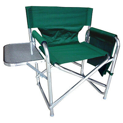 Green Sturdy Portable Travel Camping Folding Directors Chair - Pockets & Table