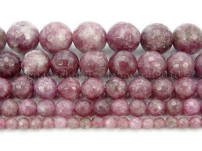 "Natural Lepidolite Gemstones Faceted Round Spacer Beads15"" 4mm 6mm 8mm 10mm 12mm"