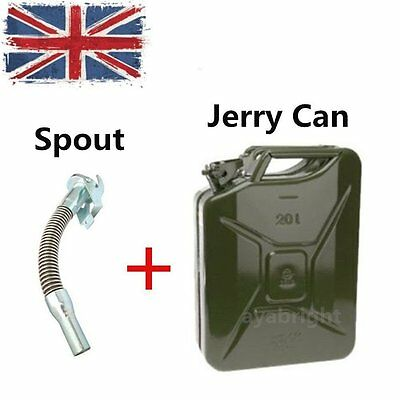 5 L Liter Jerry Metal Can Petrol Diesel Oil Fuel Water Container Storage + Spout