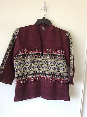 Womens Jacket Thailand Hill Tribe NWOT Cotton Open Front Embroidered Sz M Maroon