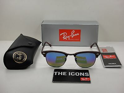 af415e4d051 Ray-Ban Clubmaster Sunglasses Rb3016 1222C2 Bordeaux blue Flash Lens 49Mm  New!