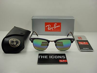 b8b9f89f40c6f Ray-Ban Clubmaster Sunglasses Rb3016 1221C3 Violet Green Flash Lens 49Mm  New!