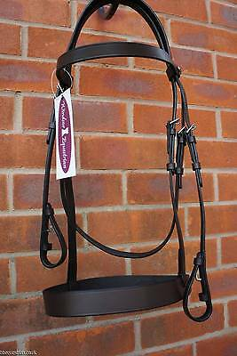 WINDSOR EQUESTRIAN HUNTER BRIDLE PLAIN LEATHER CAVESSON BLACK / BROWN all sizes