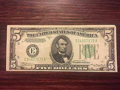 1934 A $5 Five Dollar Federal Reserve Note Richmond Nice