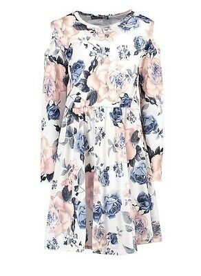 New Girls Kids Boohoo Floral Skater Party Cut Shoulder Dress Age 5 6 7 8 9 10