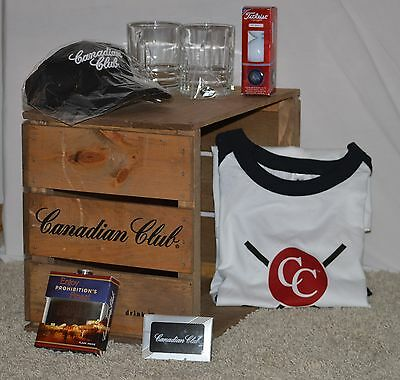 Canadian Club Whisky Collectables Lot Glasses Golf Balls Cards Hat Wood Crate