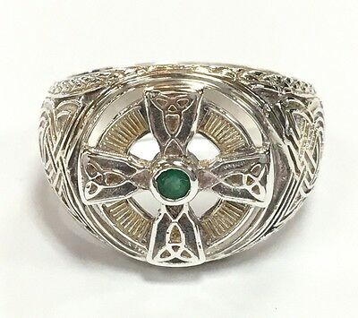Men's Sterling Silver and Emerald Celtic Cross Ring (AJB)