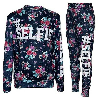 New Girls Kids #Selfie Floral Black Tracksuit Loungewear Top & Leggings Age 5-13